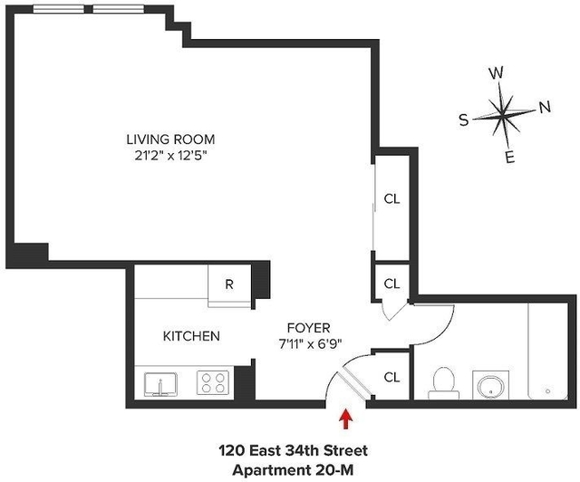 Studio, Rose Hill Rental in NYC for $2,495 - Photo 2