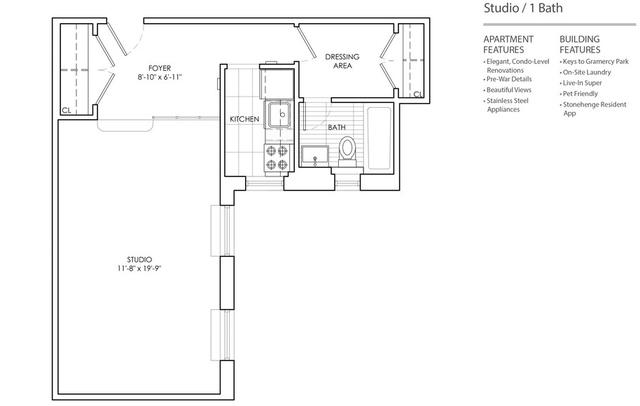 Studio, Gramercy Park Rental in NYC for $3,464 - Photo 2