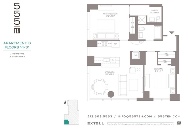 2 Bedrooms, Hell's Kitchen Rental in NYC for $7,695 - Photo 1