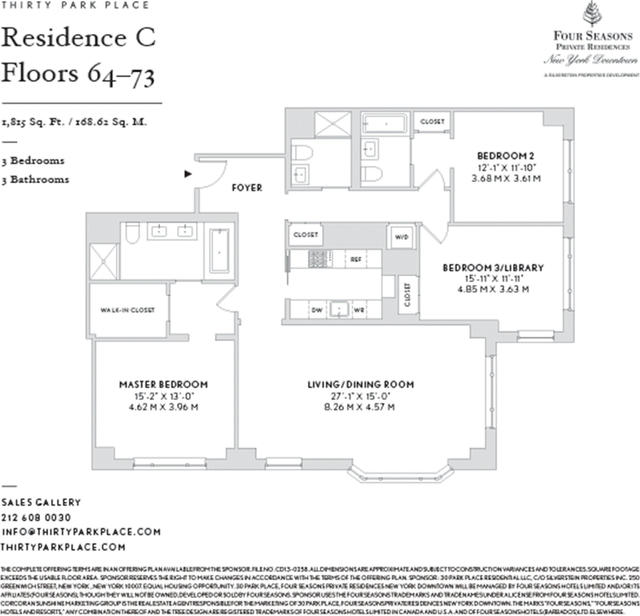 Tribeca Apartments For Rent: 3 Bedrooms At Duane St For Posted Jul-02-2019