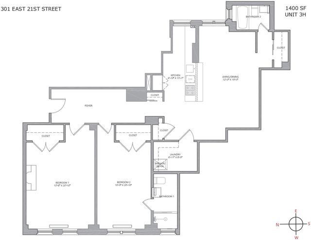 2 Bedrooms, Gramercy Park Rental in NYC for $8,000 - Photo 2