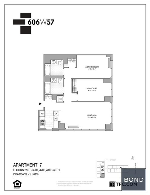 2 Bedrooms, Hell's Kitchen Rental in NYC for $6,023 - Photo 2