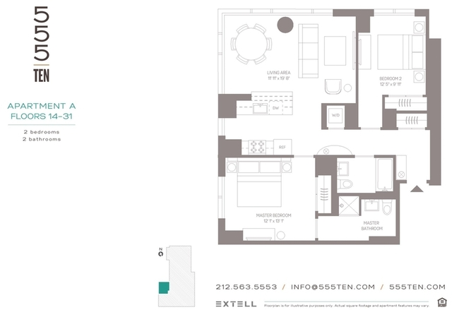 2 Bedrooms, Hell's Kitchen Rental in NYC for $6,860 - Photo 2