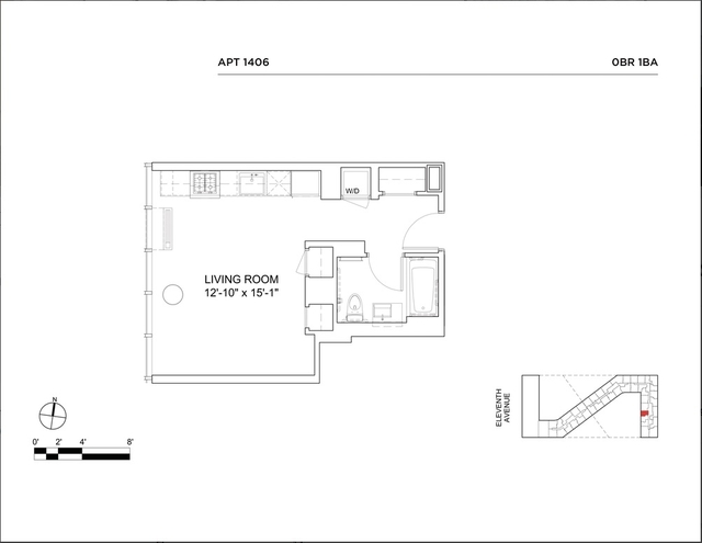 Studio, Hell's Kitchen Rental in NYC for $3,043 - Photo 2