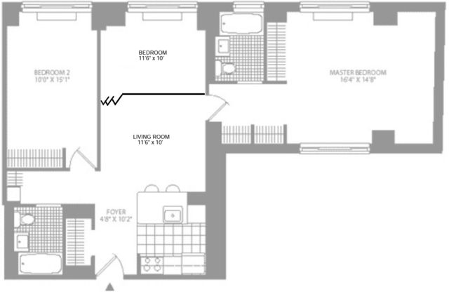 2 Bedrooms, Tribeca Rental in NYC for $6,300 - Photo 2
