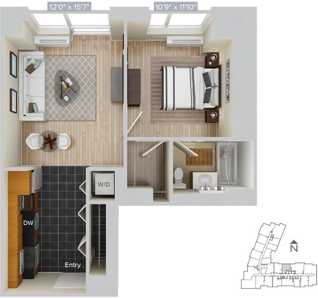 1 Bedroom, Hunters Point Rental in NYC for $3,255 - Photo 1