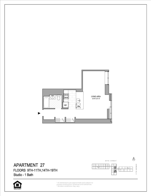 Studio, Hell's Kitchen Rental in NYC for $3,098 - Photo 2