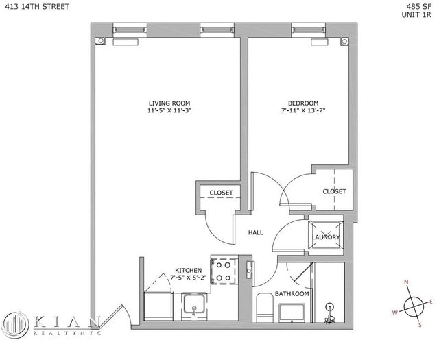 1 Bedroom, South Slope Rental in NYC for $2,885 - Photo 2