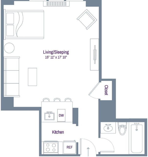 Studio, Rose Hill Rental in NYC for $3,045 - Photo 2
