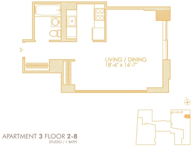 1 Bedroom, Hell's Kitchen Rental in NYC for $3,868 - Photo 2