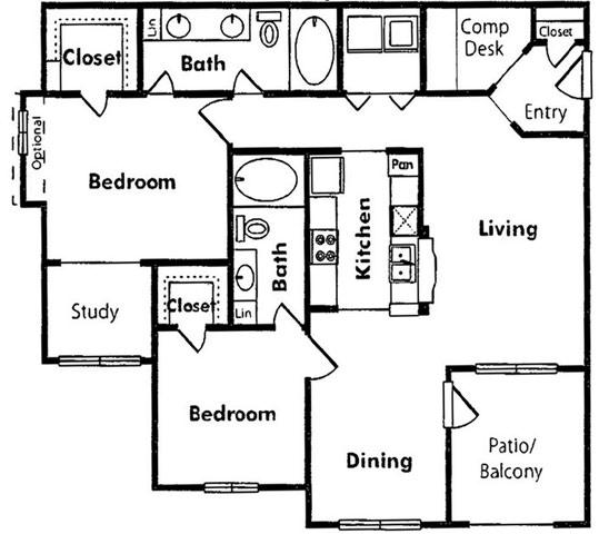 1 Bedroom, Villas at West Oaks Rental in Houston for $915 - Photo 2