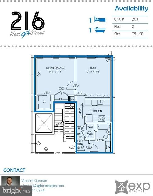1 Bedroom, Downtown Wilmington Rental in Philadelphia, PA for $1,200 - Photo 2