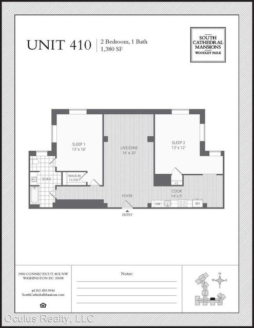 1 Bedroom, Woodley Park Rental in Washington, DC for $2,484 - Photo 2