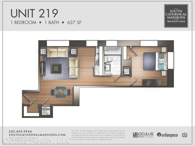 1 Bedroom, Woodley Park Rental in Washington, DC for $2,444 - Photo 2