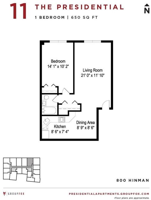 1 Bedroom, Evanston Rental in Chicago, IL for $1,545 - Photo 2