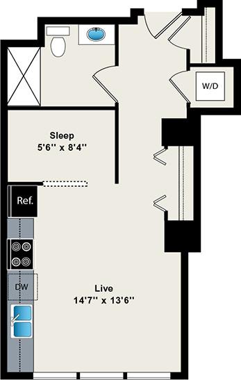 Studio, Fulton River District Rental in Chicago, IL for $1,828 - Photo 2