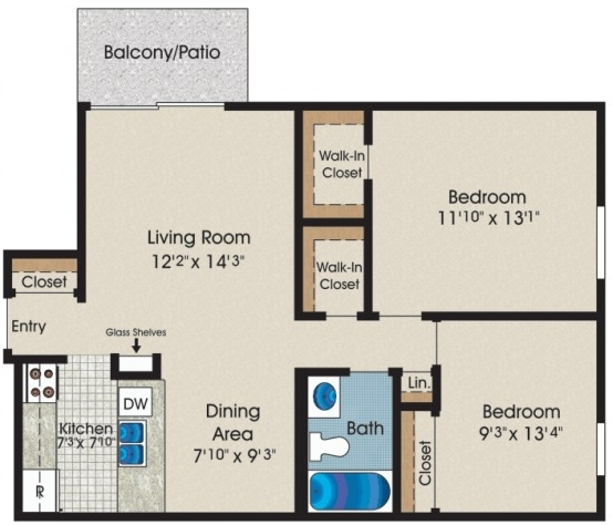2 Bedrooms, Courtyards Village Rental in Chicago, IL for $1,185 - Photo 1