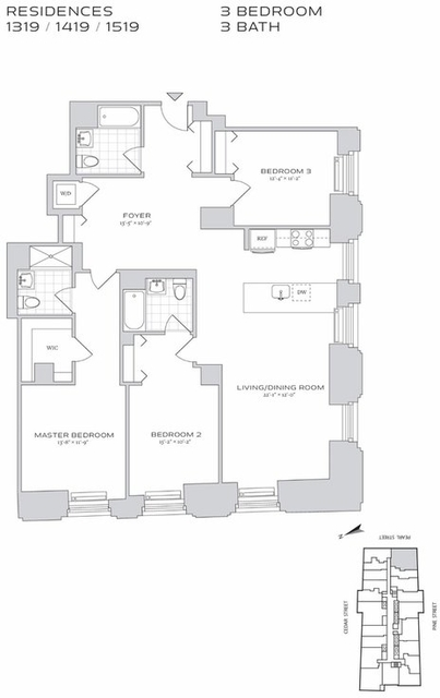 3 Bedrooms, Financial District Rental in NYC for $9,343 - Photo 2