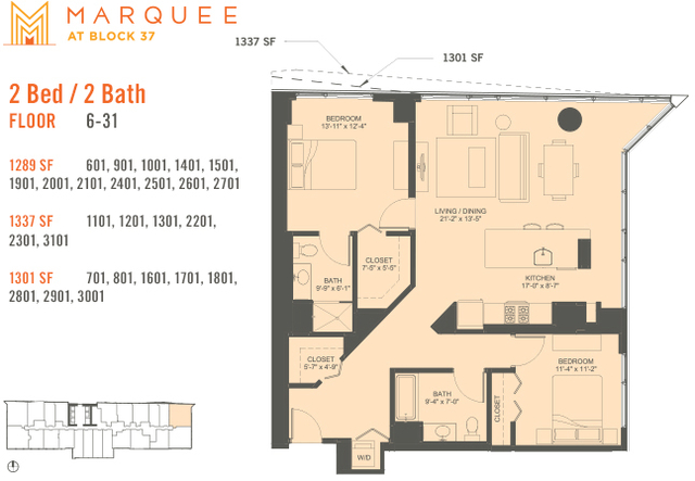2 Bedrooms, The Loop Rental in Chicago, IL for $3,478 - Photo 1