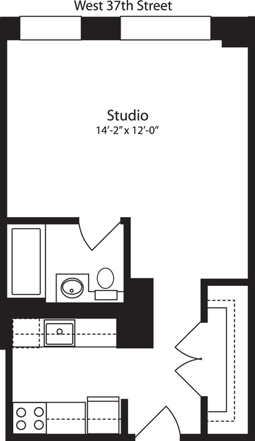 Studio, Hell's Kitchen Rental in NYC for $2,061 - Photo 1
