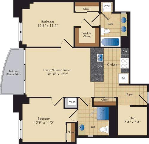 2 Bedrooms, Ballston - Virginia Square Rental in Washington, DC for $3,261 - Photo 1
