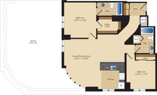 2 Bedrooms, Ballston - Virginia Square Rental in Washington, DC for $3,275 - Photo 1