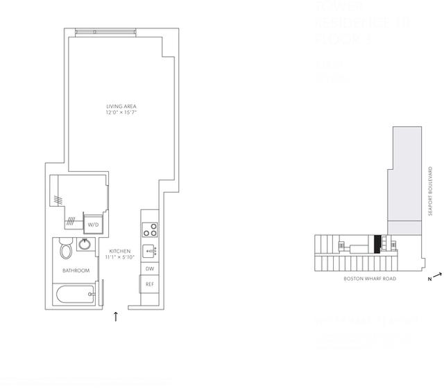 Studio, Seaport District Rental in Boston, MA for $3,042 - Photo 1